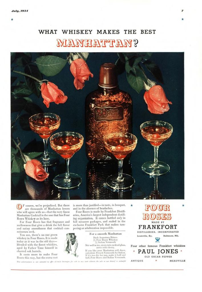 Four Roses Whiskey Print Ad from Esquire Magazine, 1934, 07-July, p.007