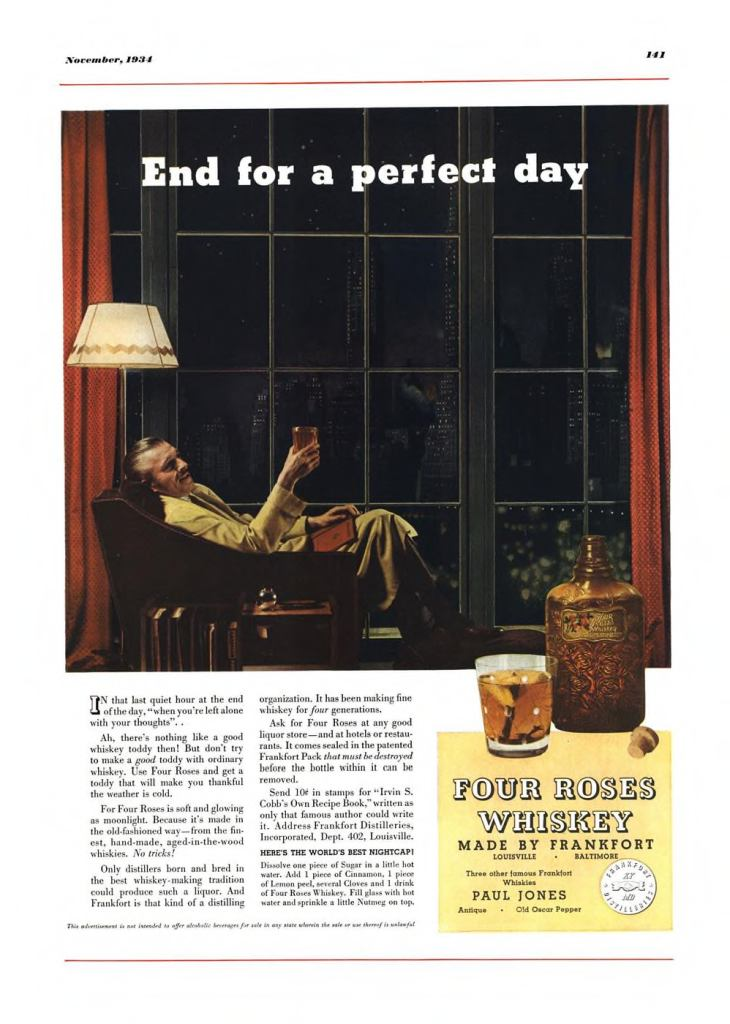 Four Roses Whiskey Print Ad from Esquire Magazine, 1934, 11-November, p.141