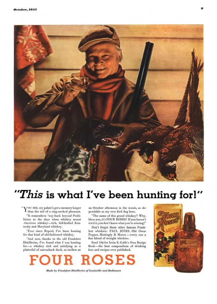 Four Roses Whiskey Print Ad from Esquire Magazine, 1935, 10-October, p.009