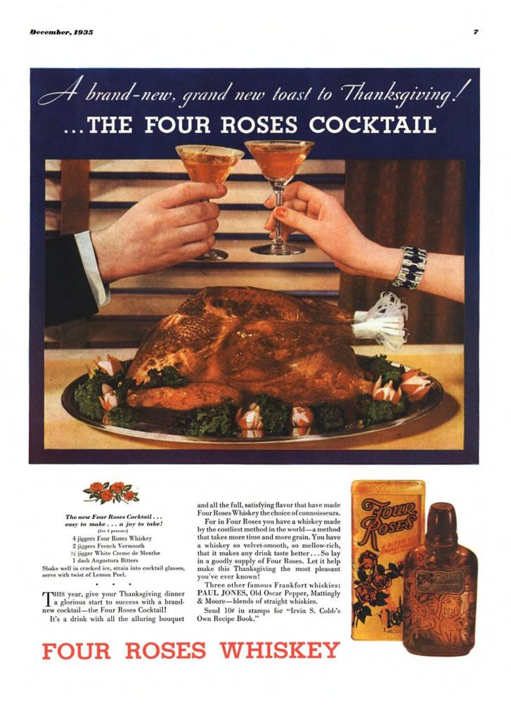 Four Roses Whiskey Print Ad from Esquire Magazine, 1935, 12-December, p.007