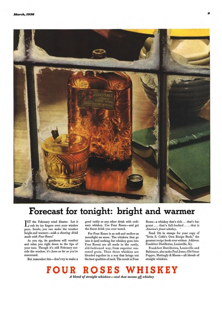 Four Roses Whiskey Print Ad from Esquire Magazine, 1936, 03-March, p.009