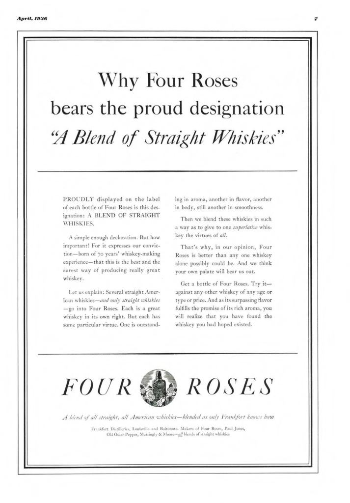 Four Roses Whiskey Print Ad from Esquire Magazine, 1936, 04-April, p.007
