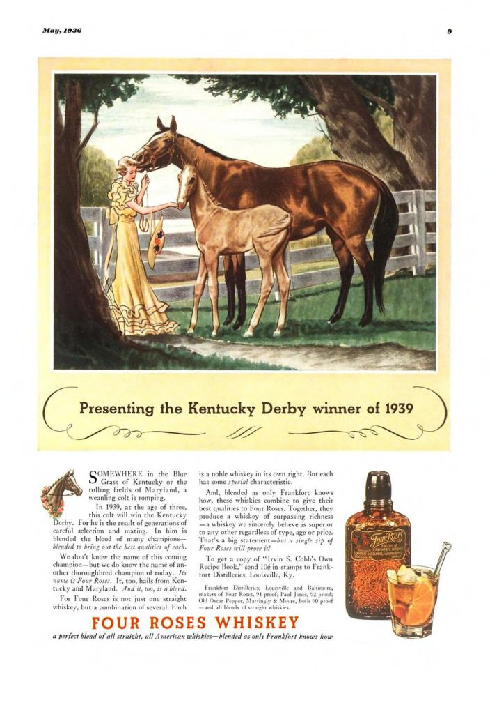 Four Roses Whiskey Print Ad from Esquire Magazine, 1936, 05-May, p.009