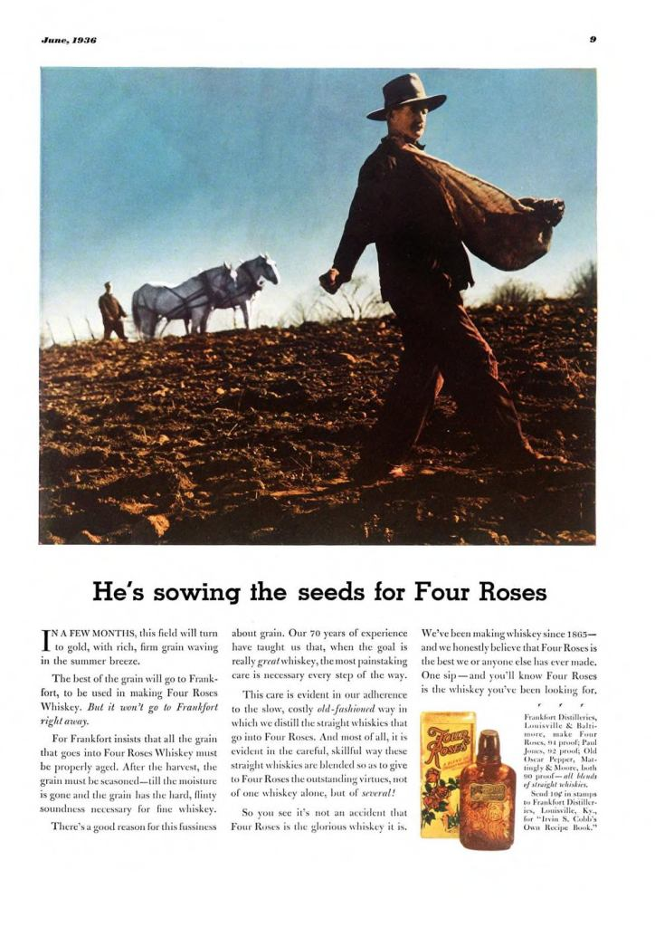 Four Roses Whiskey Print Ad from Esquire Magazine, 1936, 06-June, p.009