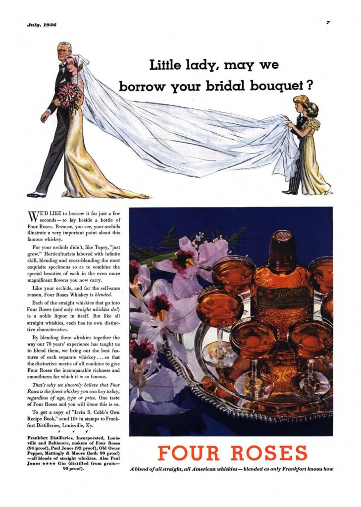 Four Roses Whiskey Print Ad from Esquire Magazine, 1936, 07-July, p.007