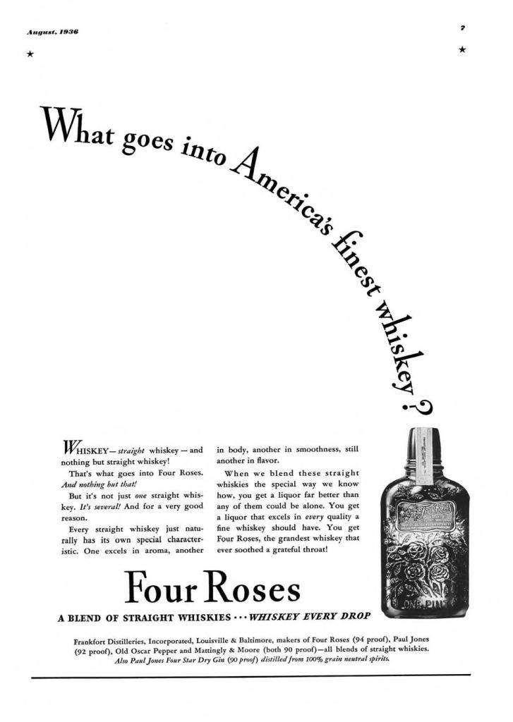 Four Roses Whiskey Print Ad from Esquire Magazine, 1936, 08-August, p.007