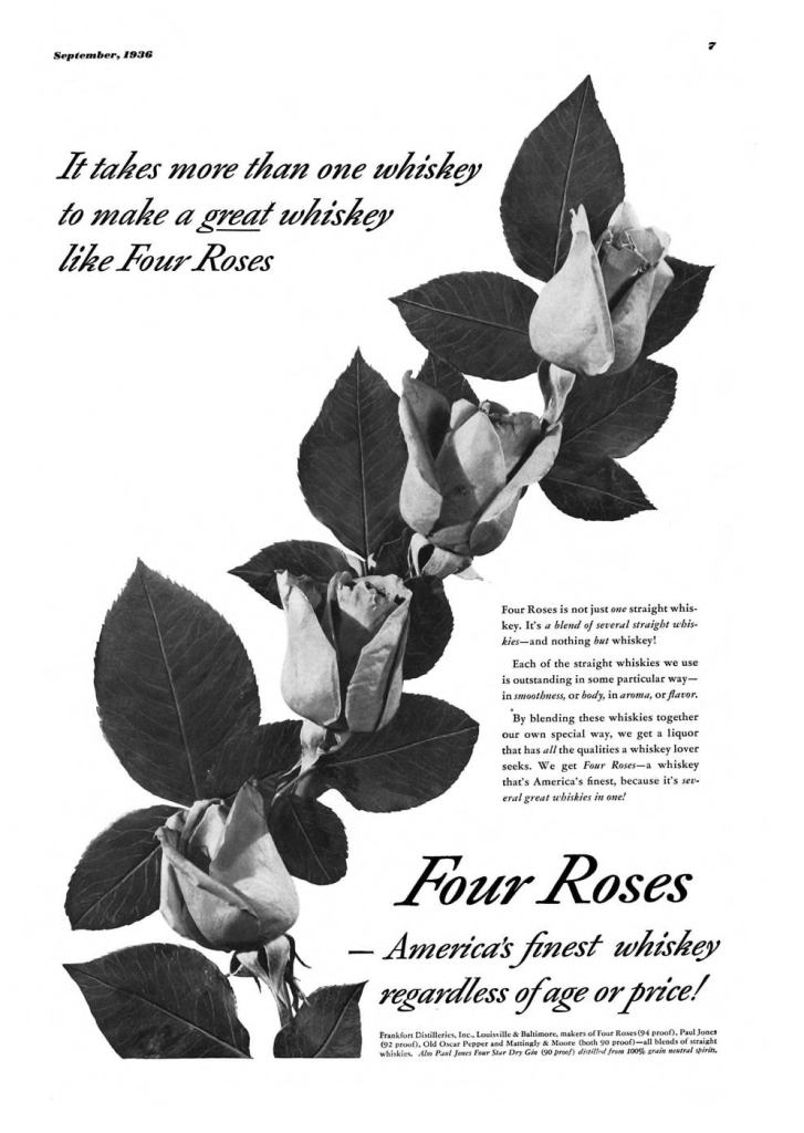 Four Roses Whiskey Print Ad from Esquire Magazine, 1936, 09-September, p.007