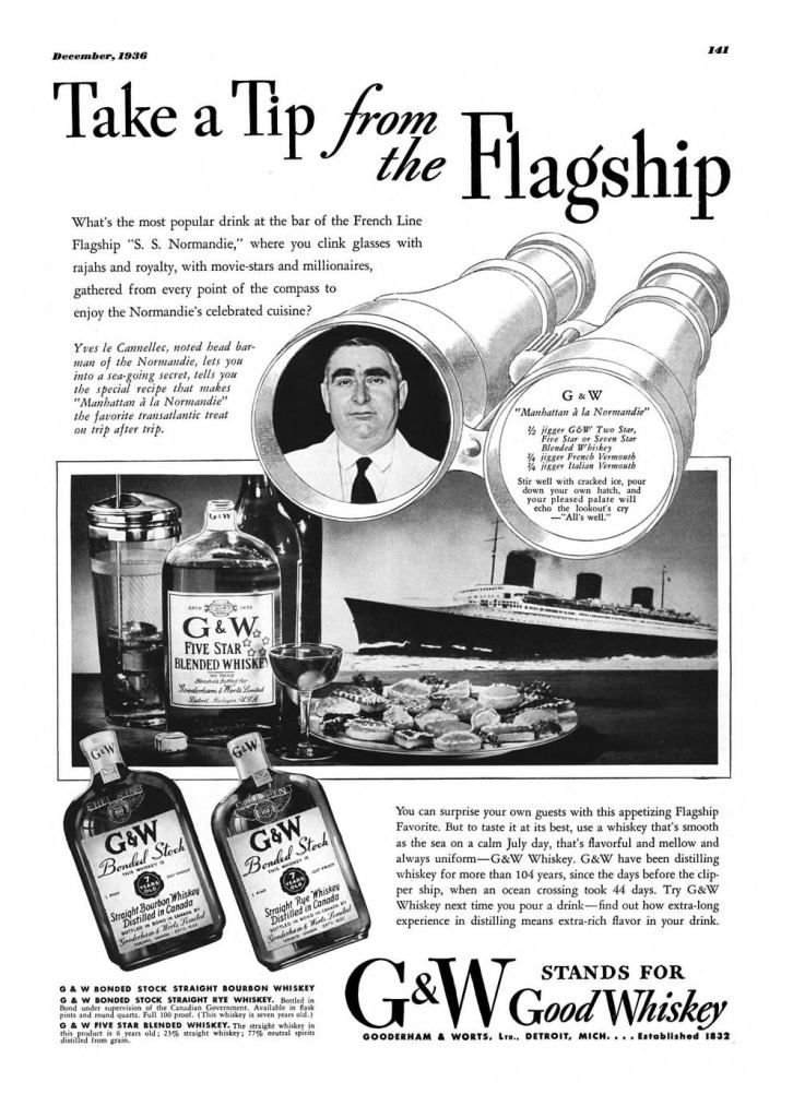 G&W Whiskey Print Ad from Esquire Magazine, 1936, 12-December, p.141