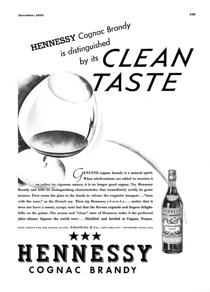 Hennessy Cognac, Brandy Print Ad from Esquire Magazine, 1935, 11-November, p.159
