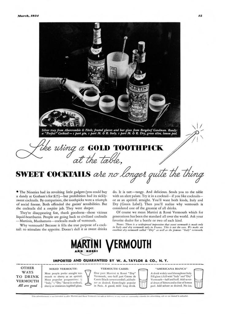 Martini & Rossi Vermouth Print Ad from Esquire Magazine, 1934, 03-March, p.015