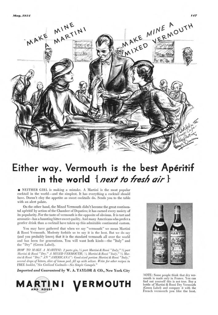 Martini & Rossi Vermouth Print Ad from Esquire Magazine, 1934, 05-May, p.147