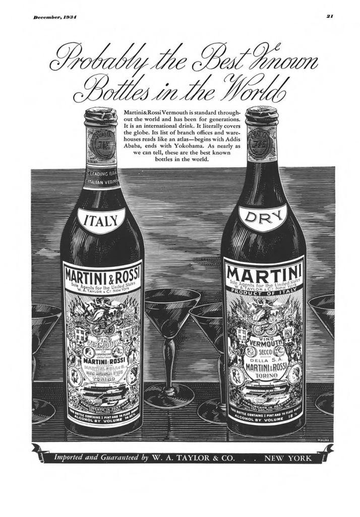 Martini & Rossi Vermouth Print Ad from Esquire Magazine, 1934, 12-December, p.021