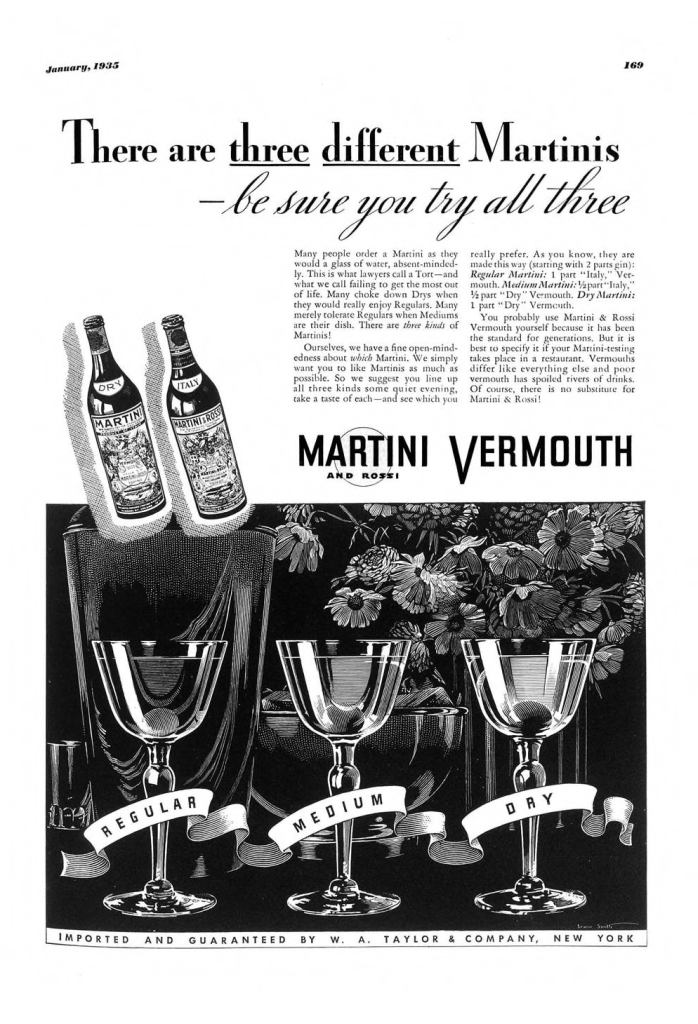 Martini & Rossi Vermouth Print Ad from Esquire Magazine, 1935, 01-January, p.169