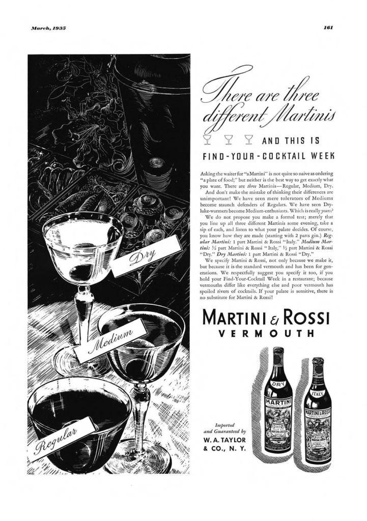 Martini & Rossi Vermouth Print Ad from Esquire Magazine, 1935, 03-March, p.161