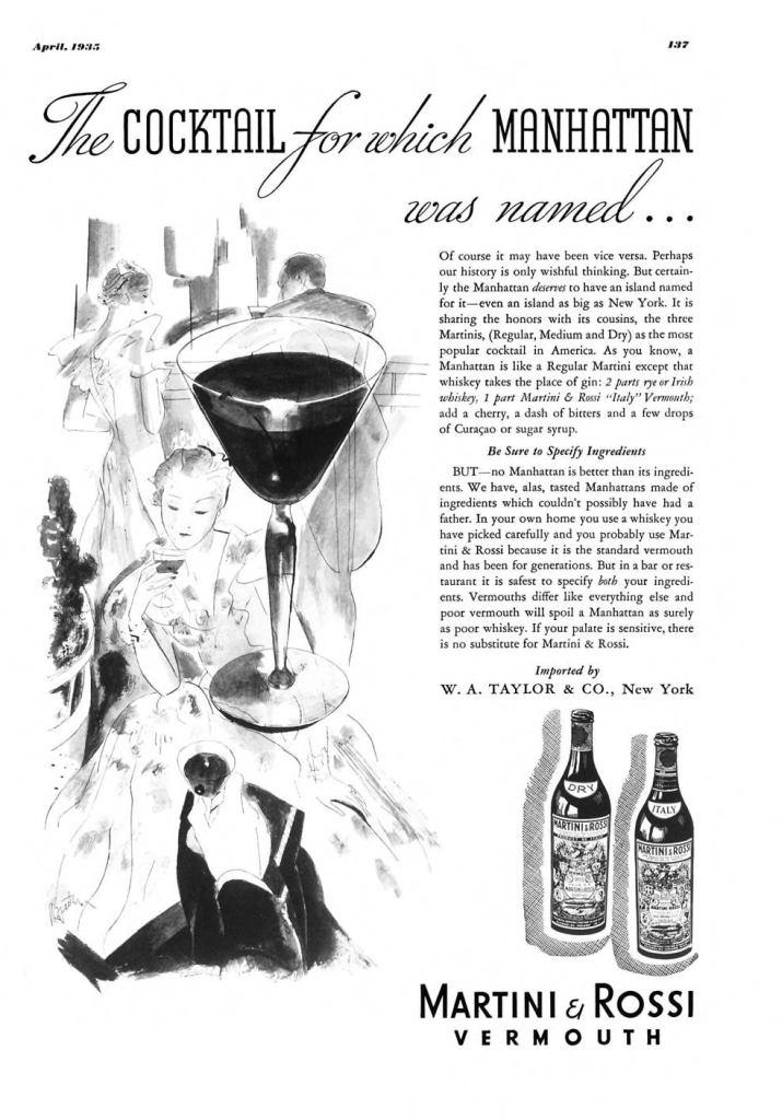 Martini & Rossi Vermouth Print Ad from Esquire Magazine, 1935, 04-April, p.137