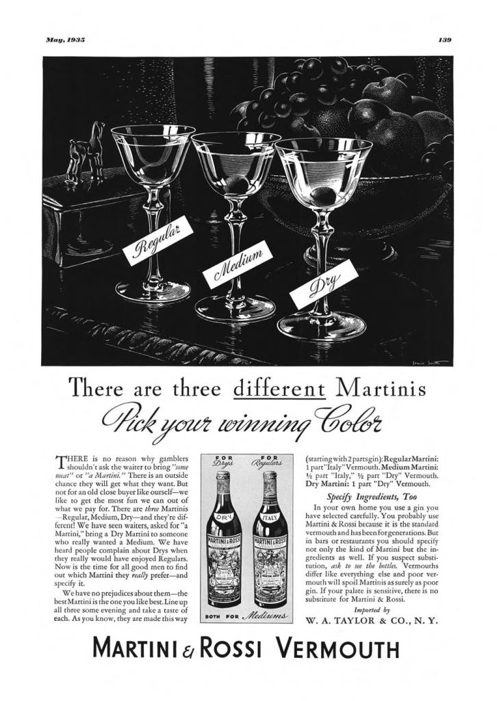 Martini & Rossi Vermouth Print Ad from Esquire Magazine, 1935, 05-May, p.139