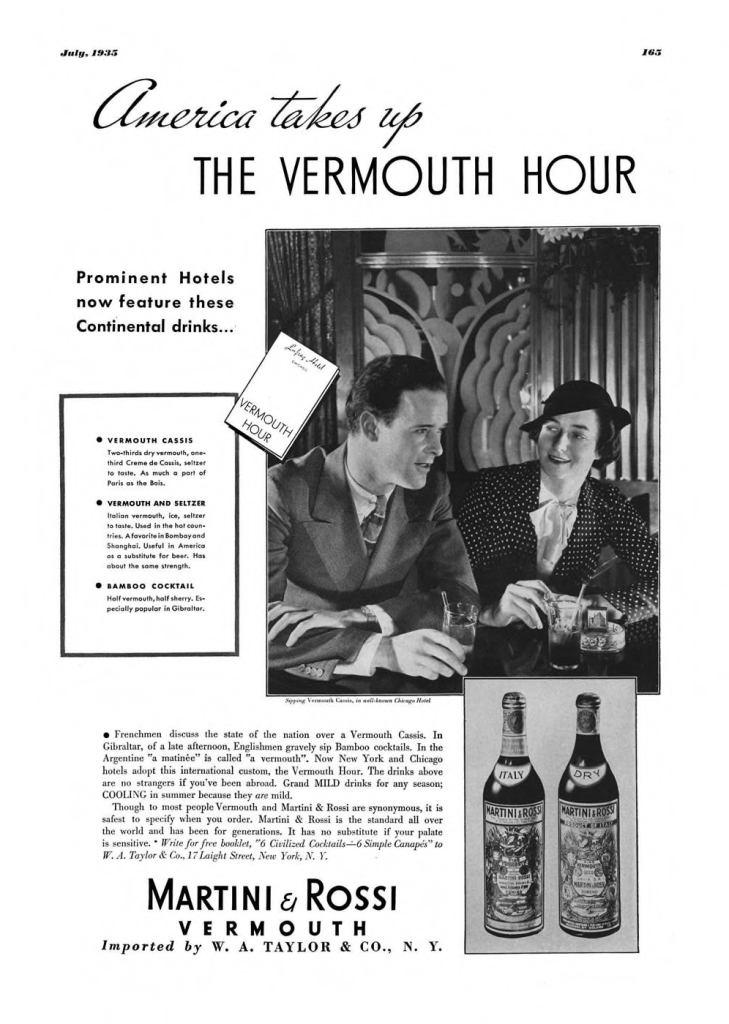 Martini & Rossi Vermouth Print Ad from Esquire Magazine, 1935, 07-July, p.165