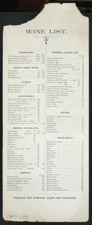 1907 Daily Menu, Wine List, Lafayette Place Restaurant and Café, New York, NY