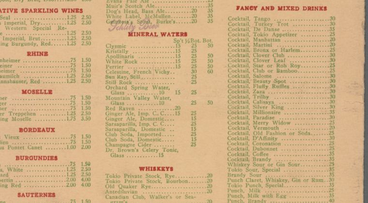 1914 Tokio Restaurant, Fancy and Mixed Drinks