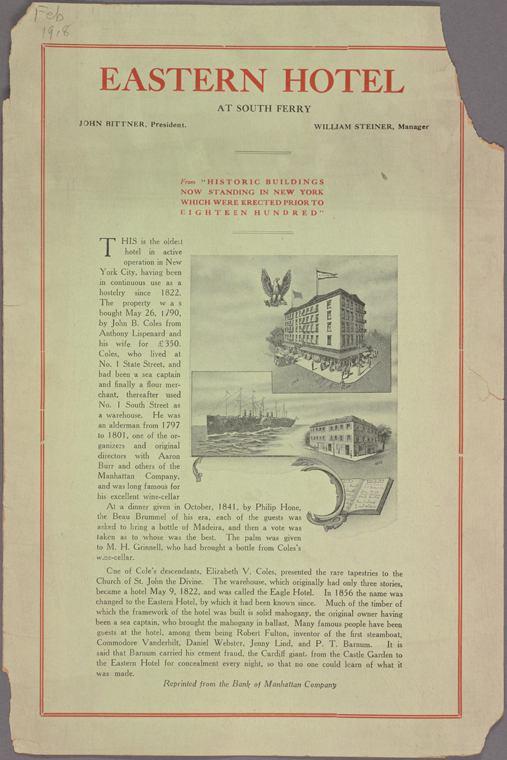 1918 Eastern Hotel, New York, Cover