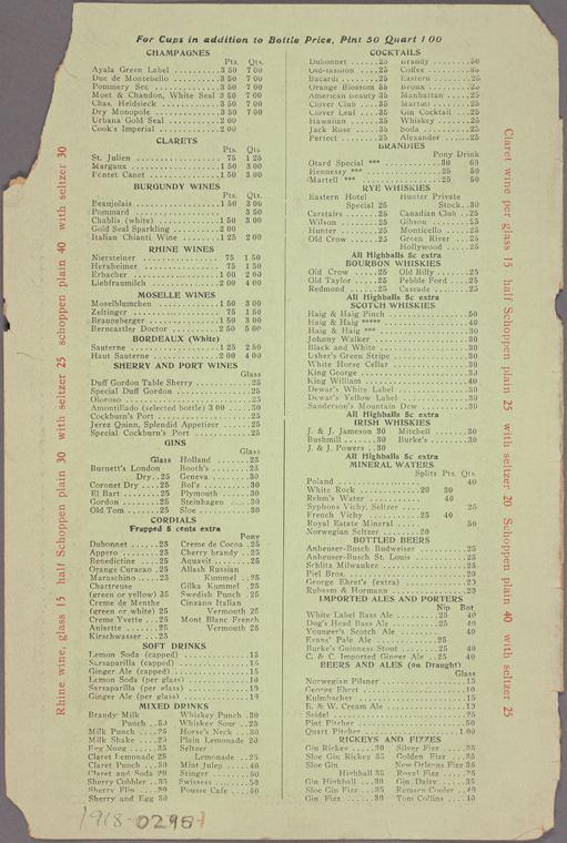 1918 Eastern Hotel, New York, Menu