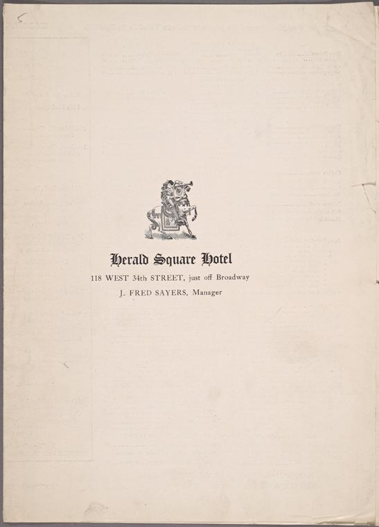 1918 Herald Square Hotel, Cover