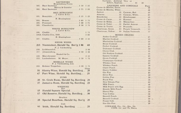 1918 Herald Square Hotel, Wine List, Mixed Drinks