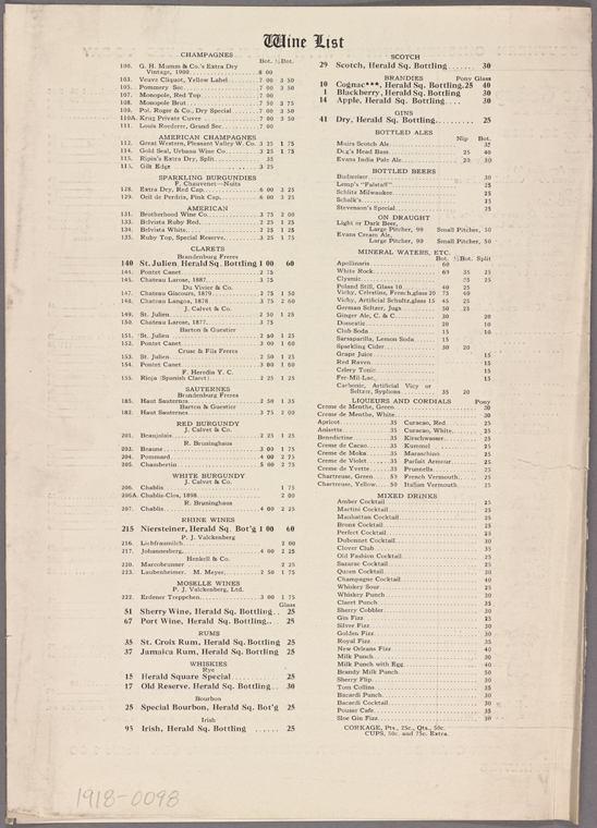 1918 Herald Square Hotel, Wine List