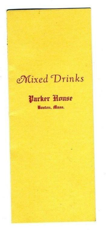 1935 Parker House, Hotel, Mixed Drinks Menu, Boston, Cover