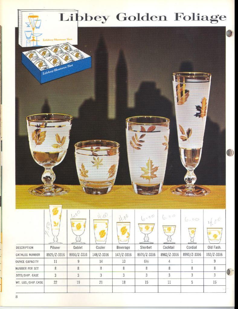 1961 Libbey Safedge Glassware. Spring. Summer. p.08. Libbey Golden Foliage