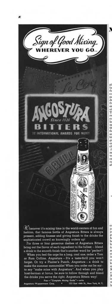 Angostura Bitters Print Ad from Esquire Magazine, 1939, 08-August, p.009E