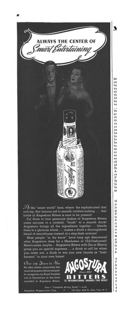 Angostura Bitters Print Ad from Esquire Magazine, 1939, 09-September, p.010B