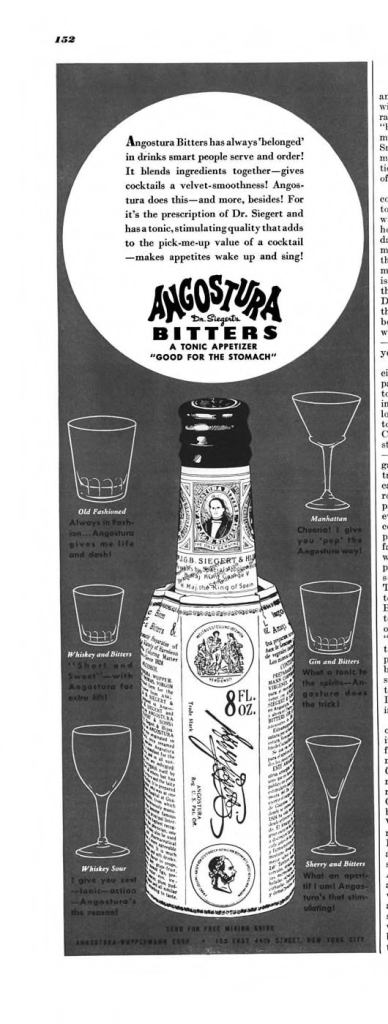 Angostura Bitters Print Ad from Esquire Magazine, 1940, 03-March, p.152