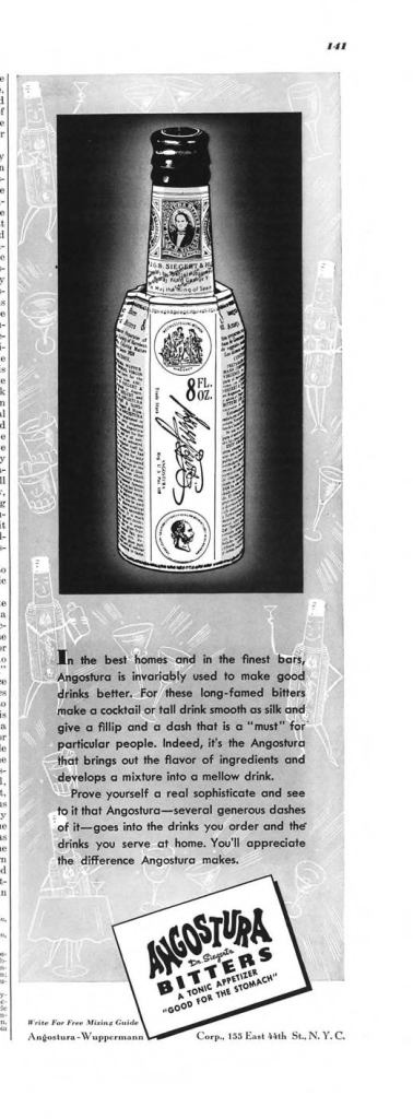 Angostura Bitters Print Ad from Esquire Magazine, 1940, 11-November, p.141