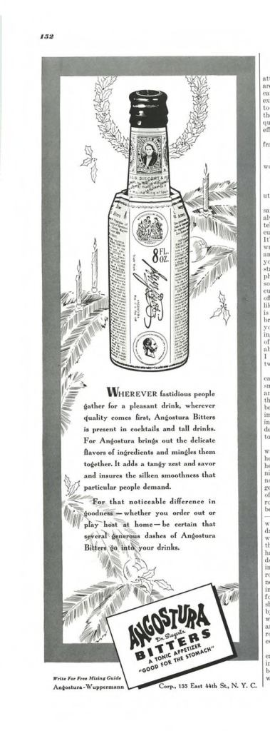 Angostura Bitters Print Ad from Esquire Magazine, 1940, 12-December, p.152