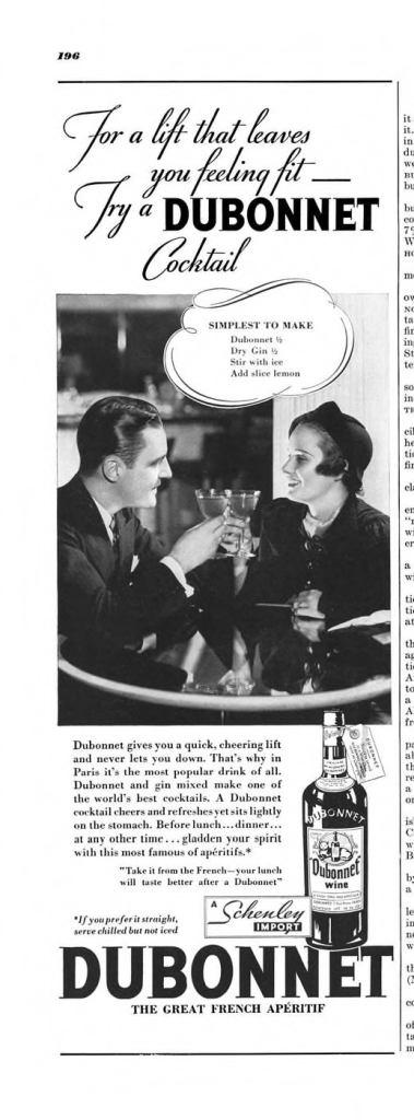 Dubonnet Aperitif Wine Print Ad from Esquire Magazine, 1935, 11-November, p.196