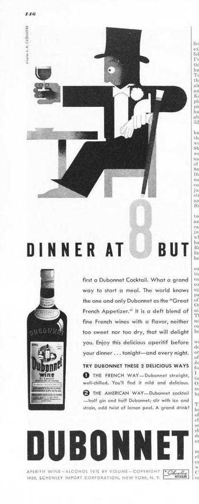 Dubonnet Aperitif Wine Print Ad from Esquire Magazine, 1939, 01-January, p.146