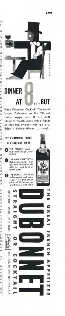 Dubonnet Aperitif Wine Print Ad from Esquire Magazine, 1940, 05-May, p.183
