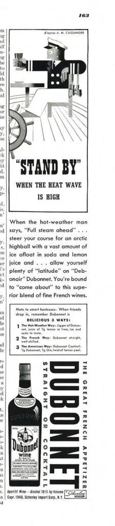 Dubonnet Aperitif Wine Print Ad from Esquire Magazine, 1940, 08-August, p.163