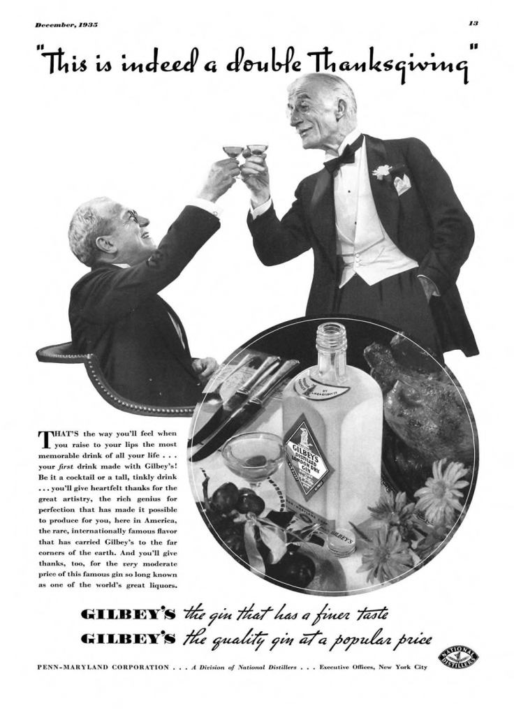 Gilbeys London Dry Gin Print Ad from Esquire Magazine, 1935, 12-December, p.013