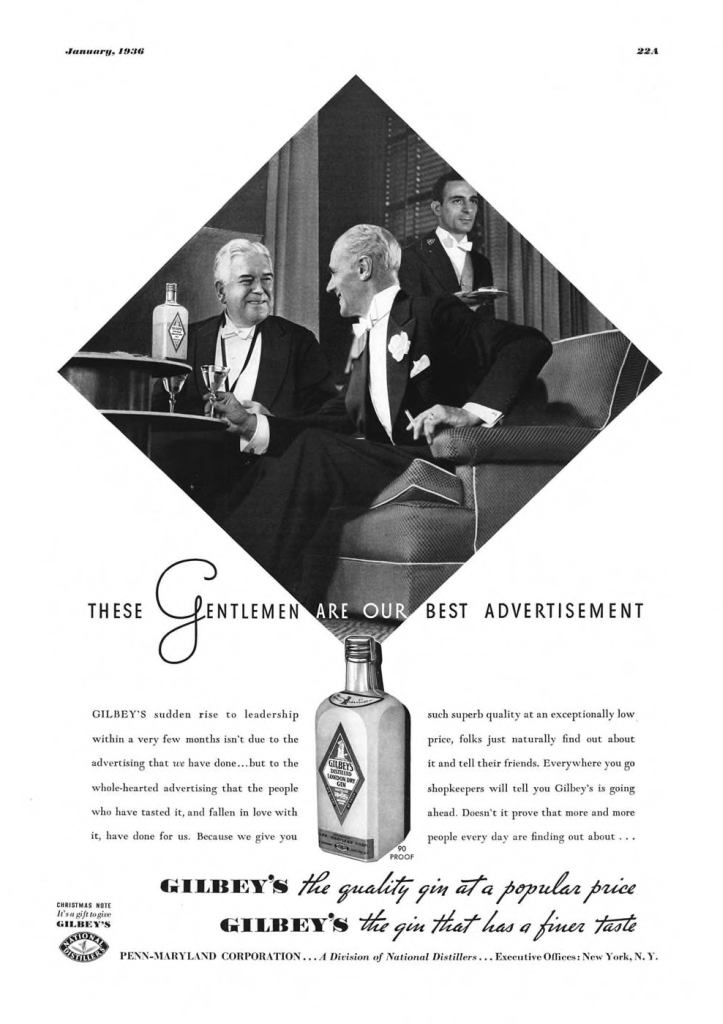 Gilbeys London Dry Gin Print Ad from Esquire Magazine, 1936, 01-January, p.022A
