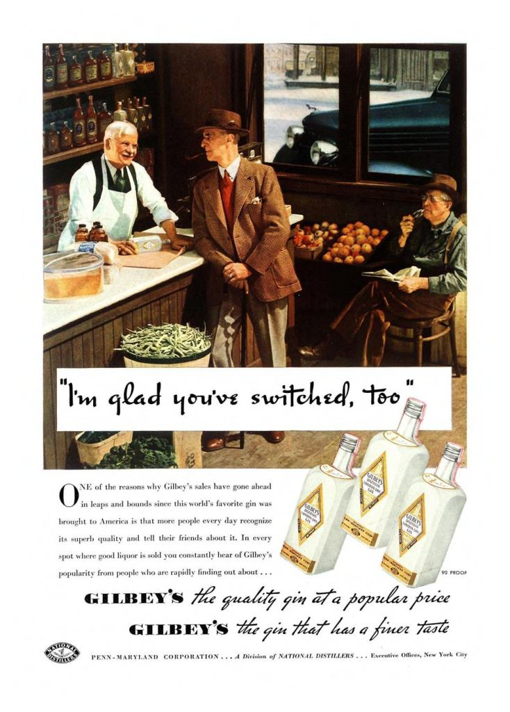 Gilbeys London Dry Gin Print Ad from Esquire Magazine, 1936, 02-February, p.002