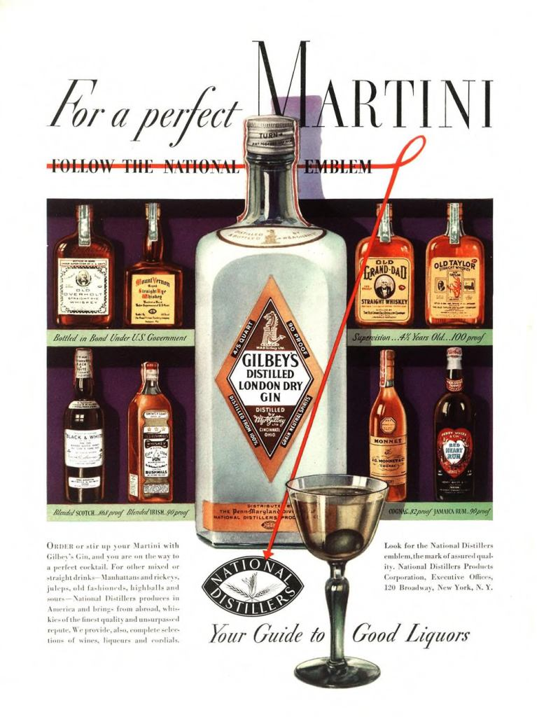Gilbeys London Dry Gin Print Ad from Esquire Magazine, 1936, 10-October, p.002