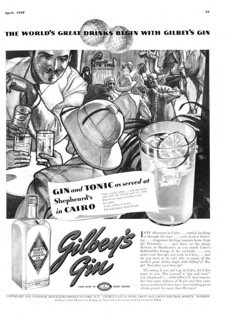 Gilbeys London Dry Gin Print Ad from Esquire Magazine, 1938, 04-April, p.023