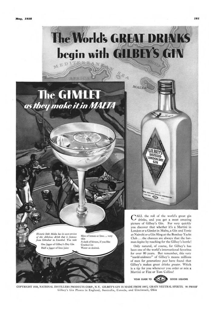 Gilbeys London Dry Gin Print Ad from Esquire Magazine, 1938, 05-May, p.181