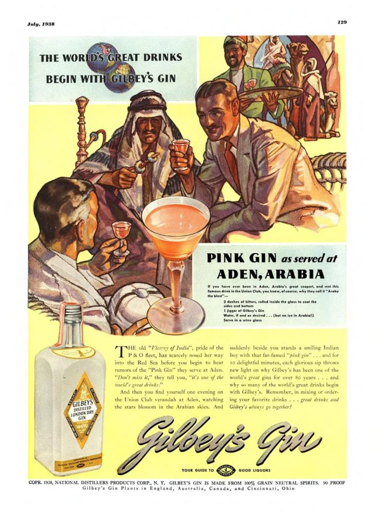 Gilbeys London Dry Gin Print Ad from Esquire Magazine, 1938, 07-July, p.129