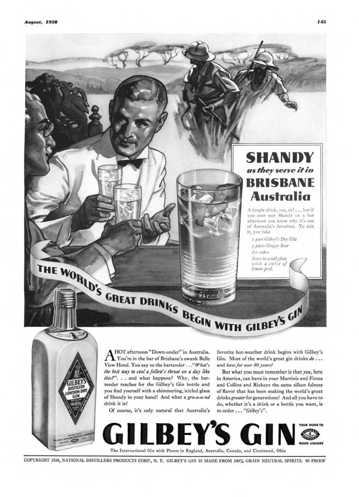 Gilbeys London Dry Gin Print Ad from Esquire Magazine, 1938, 08-August, p.145