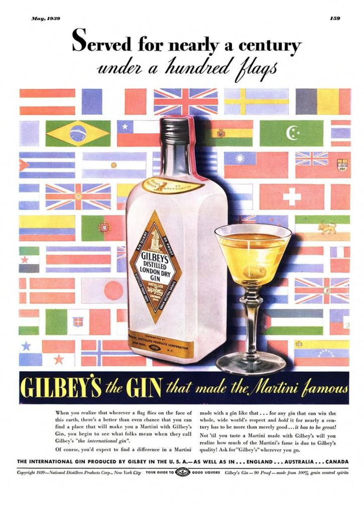 Gilbeys London Dry Gin Print Ad from Esquire Magazine, 1939, 05-May, p.159 +s