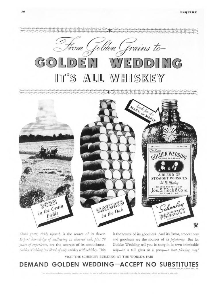 Golden Wedding Whiskies Print Ad from Esquire Magazine, 1934, 08-August, p.010