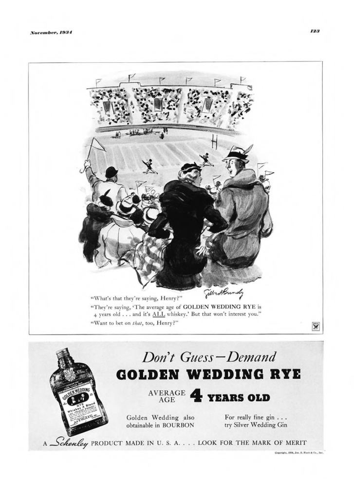 Golden Wedding Whiskies Print Ad from Esquire Magazine, 1934, 11-November, p.123